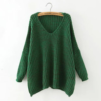 Fashion Dropped Shoulder Batwing Sleeve Sweater