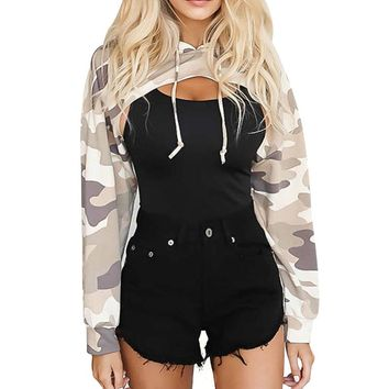 Fashion women Cut out Camouflage crop tops hooded sweatshirts casual Harajuku pullovers Front hollow Autumn long sleeve hoodies