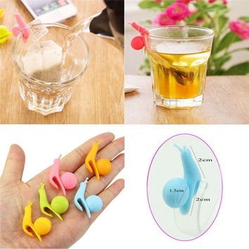 5pcs Cute Snail Shape Silicone Tea Bag Holder Cup Mug Candy Colors Gift Set New Color Random Sent = 1958512388