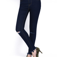Navy Skinny Cut-out Fringed Denim Pant