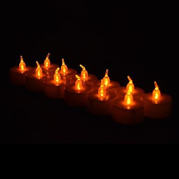 BLOWOUT Amber Orange LED Battery Operated Flameless Tea Light - White Color Candles (12 Pack)