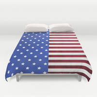 Stars And Stripes-American Flag On Fabric Texture Duvet Cover by Inspired By Fashion