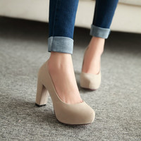 2016 spring women pumps round toe shallow mouth high-heeled shoes sexy faltform shoes lazy thick heel  women's shoes big size 43