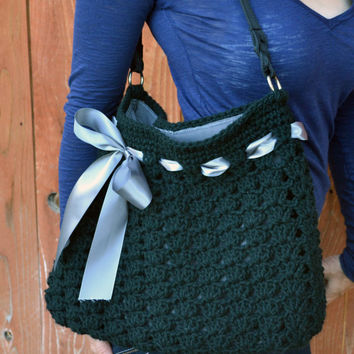 Crochet shoulder purse tote bag with ribbon in black and grey.