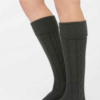 Soft Cable Cuffed Knee-High Sock- Grey One