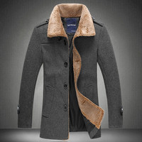 Fur Collar Wool Coat Men Plus Size Medium Long Men's Winter Woolen Coat 2014 New Fashion Black Grey Blue XL XXL 3XL 4XL = 1958303556