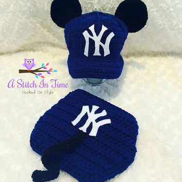 New York Yankees Mickey Mouse Inspired Baseball Team Baby Crochet Hat, Cap, Beanie, and Diaper Cover Outfit Set for Newborn-12 Months