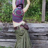 Hooded Crochet Mandala Woolen Pixie Vest