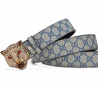 GUCCI Tiger Diamond Red Eye Buckle Double Print Belt Blue