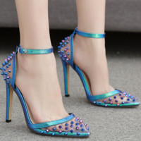 Hot style hot sell a word button sexy color rivet single shoe