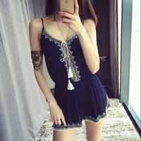 Boho Embroidered Tassels Sling Jumpsuits Rompers