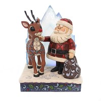 Jim Shore RUDOLPH & SANTA WITH ICEBERG Polyresin Tradition Lighted 6001589