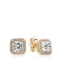 PANDORAStud Earrings - 14K Gold & Cubic Zirconia Timeless Elegance
