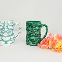 Vintage Tiki Mug Coffee Cup Blue and White or Green