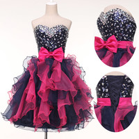 Organza PRINCESS Sexy Mini Sequins Evening Bridesmaid Pageant Prom Party Dresses