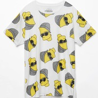 Neff - The Simpsons Steezy Bart Drop Tail T-Shirt - Mens Tee - White