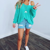 The Kelsey Sweater: Turquoise
