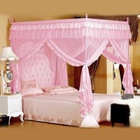 Cute Princess Double Bed Canopies Adults Four Corner Lace Insect Bed Canopy Netting Curtain Dome Polyester Bedding Mosquito Net