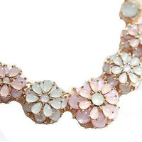 Basket Hill Watches and Gifts, Gold Tone Pastel Crystal Flower Necklace