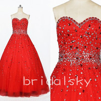 Amazing 2014 New Arrival Elegant Strapless Shinning Crystal Beaded Long Ball Gown Bandage Formal Party Evening/Prom Dresses
