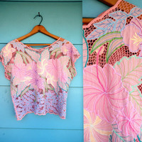 1970s. pink floral embroidered netted top. s-l