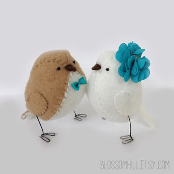 Wedding cake topper birds - light brown and white with teal statement flower