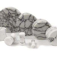 Stone Plugs White Howlite Organic - by the pair