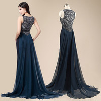 Gorgeous Long Black Crystal Beaded Prom Dress LAVELIQ