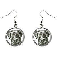 Black Labrador Retriever Dog Silver Hypoallergenic Stainless Steel Earrings