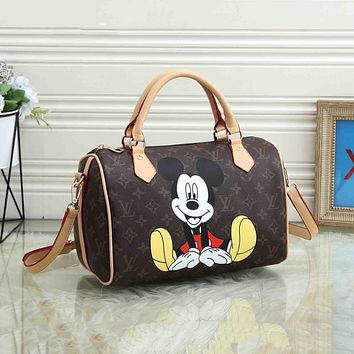 Louis Vuitton LV Fashion Plaid Mickey Print Trend All-match Shoulder Bag