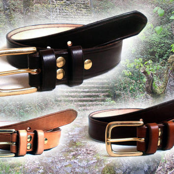 """Men leather belt, 1 1/4"""" wide, solid brass buckle with 2 fixed leather loops, made  to order, in black, brown or tan"""