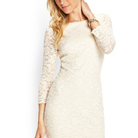 LOVE 21 Zippered Lace Sheath Dress Cream