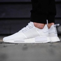 Best Online Sale Adidas NMD R1 Triple White BA7245 Boost Sport Running Shoes Classic Casual Shoes Sneakers