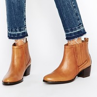 Warehouse Leather Flat Chelsea Ankle Boots