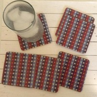 6 Drink Coasters, Primitive Country Red, White, Blue Americana MDF Wood Coaster Set, Wedding Gift, Anniversary Gift, Housewarming Gift