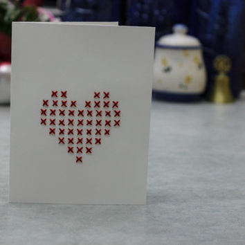 Hand Embroidered Cross Stitch Heart Card - Perfect for Valentines, Anniversaries, Weddings, Mother's Day, to say Thank You, etc