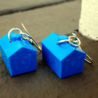 BLUE, RED, YELLOW, or Green Dangly Monopoly Hotel Earrings - Gift for Women, Stocking Stuffers, Board Game Lovers, Housewarming, or Birthday