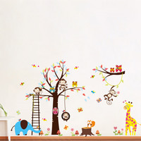 High Quality Creative Cute Animales Wall Sticker Decal Removable Home Decor For Kids Room SM6