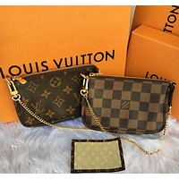 LV new women's personality simple and versatile chain zipper key bag purse