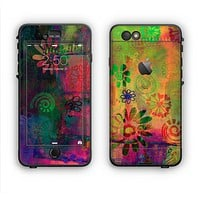 The Neon Colored Grunge Surface Apple iPhone 6 Plus LifeProof Nuud Case Skin Set