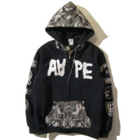 Bape Aape New fashion letter pattern print camouflage hooded long sleeve sweater coat