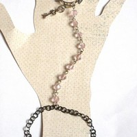 Gunmetal and Pink Slave Bracelet with Connected Ring and Key Charm