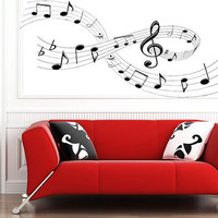 Music Notes with swerve and Cross Wall Sticker bedroom kitchen art vinyl decal