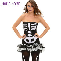Women Sexy Halloween Strapless Bandage Dress Human Skeleton Costume Zombie Backless Off Shoulder Bodycon Party Dresses Vestidos