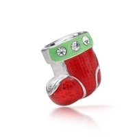 Bling Jewelry 925 Sterling Silver CZ Christmas Stocking Holiday Charm Fits Pandora