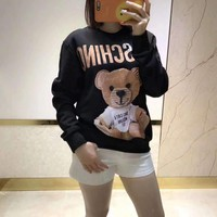 """Moschino"" Unisex Casual Cute Cartoon Bear Letter Pattern Print  Long Sleeve Sweater Couple Pullover Tops"