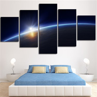 2016 Unframed Wall Modular Tableau Picture Art Canvas Painting Light Around Surface Of Earth Home Decor For Living Room 5Plane