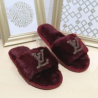 LV Louis Vuitton New Style Wool Slippers, Home Bright Diamond Flat Bottom Warmth Slippers, Fashion Cotton Slippers Shoes