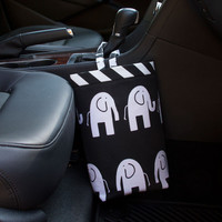 Car Trash Bag ~ Black Elephant ~ Black Chevron Band ~ Gearshift Handle ~ Oilcloth Lining