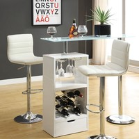 Home bar unit modern style white finish bar unit with frosted tempered glass top and chrome accents